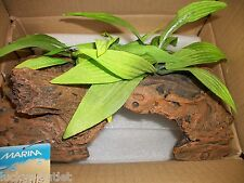 Marina Naturals Malaysian 1/2 Log Driftwood with Plants Large *Glued Together*
