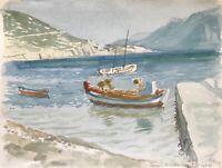 Karl Adser 1912-1995 Baie Bateaux Méditerranée Côte Xerokampos Crète Grèce