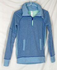 Ivivva Shiver Stopper fleece pullover 10 blue herringbone by Lululemon EUC