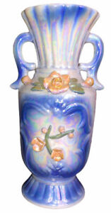 Porcelain Vase Europe Czech Mother of Pearl with Cobalt Blue Ceramic