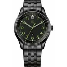 New Tommy Hilfiger Steel Black Date Men Dress Watch 44mm 1710307 $145