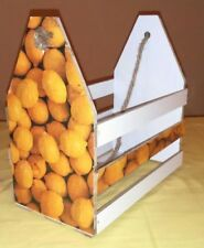 Handmade decoupage white wooden crate, home decor basket with lemons for kitchen