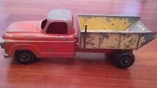 Vintage Chevrolet Metal Dump Truck Toy with Wood Wooden Wheels