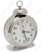 VINTAGE Paper Dial 50's Soviet Russian Desk Clock ALARM Wind Up Nickel case
