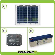 Kit placa panel solar 5W 12V regulador de carga 5A batería 2.4Ah 12V jardin