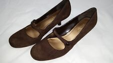 NEW Womens Franco Sarto Suede Coin Brown Mary Jane Kitten Heel Shoes 10M NIB NWB