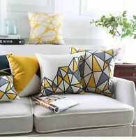 "18"" Cotton Linen Simple Geometry Pillow Case Sofa Waist Cushion Cover Home Decor"