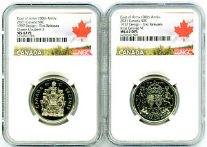 2021 1997 1937 50C CANADA QUEEN ELIZABETH & KING GEORGE NGC MS67 PL 2-COIN SET