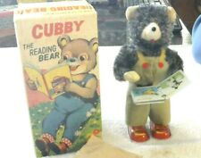 Rare Old Vintage Alps Wind Up Reading Bear Working Condition W/Box 1950's
