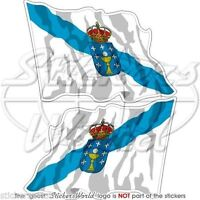 "GALICIA SPAIN Galician Waving Flag Vinyl Bumper Stickers, Decals 3"" (75mm) x2"