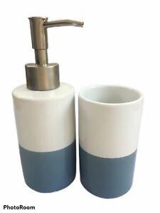 Two Tone Blue White Soap Dispenser & Toothbrush Holder Tumbler Bathroom Ceramic