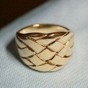 *Retired & Vintage* James Avery 14k Gold BASKET WEAVE Ring Size 8.75