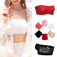Womens Basic Stretch Strapless Seamless Tube Bra Top Bandeau Underwear One Size