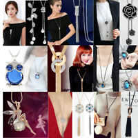 Women Crystal Flower Buttery Pendant Long Chain Tassel Sweater Necklace Jewelry