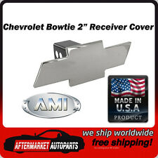 "Chevrolet Bowtie Polished Billet Aluminum 2"" Tow Hitch Receiver Cover AMI 1036"