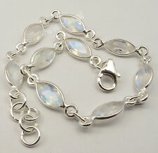 "925 Sterling Silver Original RAINBOW MOONSTONE ADJUSTABLE Bracelet 7.9"""