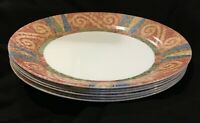 Corelle Sand Art Pattern ~ Orange Beige Blue & Green ~ Lot of  6 Dinner Plates