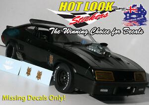 1:18 Mad Max Missing Vinyl Decals Stickers AutoArt BLACK Tuned Ford INTERCEPTOR