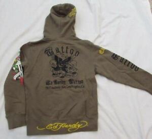 ED HARDY boys 6 olive green tattoo embroidered full zip hoodie sweatshirt eagle