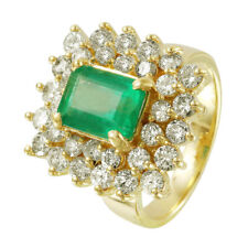 14KT Yellow Gold Emerald Diamond Cocktail Ring Size 6.5 L1492