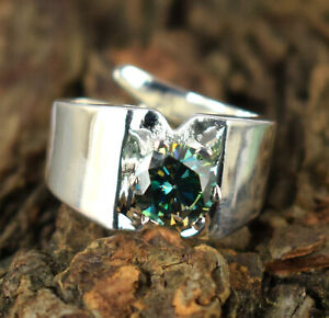 Free Certificate 3.69 Ct 925 Silver Green Diamond Solitaire High Value Ring