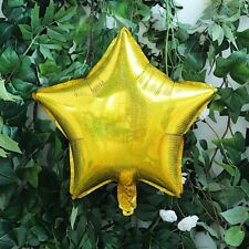 """2 Gold 16"""" wide 4D Stars Mylar Foil Balloons Wedding Event Party Decorations"""