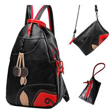 Women's Girls Leather Backpack Travel Shoulder School Bags Fashion Rucksack Set