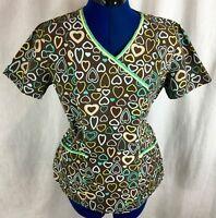 Heart Scrub Top M Medical Uniform Work Shirt Brown Multicolor Peaches Mock Wrap