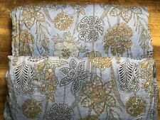 2 Blue Floral Crinkle Voile Tie Top Curtains Hand Dyed World Market 40x84 NEW
