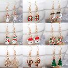 Cute Gold Plated Crystal Enamel Christmas Earrings Women Drop Dangle Earrings