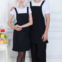 High Quality Unisex Cooking Home Restaurant Bib Apron Dress w/Pocket Black
