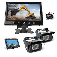 "Kit Monitor 9"" 2 x Telecamera LED 2 Cavi 20mt Tir Camion Trattori Retromarcia"