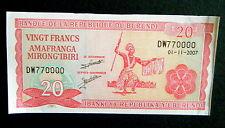 ★★ BURUNDI ● RADAR VARIETE ●  BILLET DE 20 FRANCS 2007 P27 ● SUP+ ★★