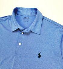 Polo Ralph Lauren Performance Heather Blue Stretch Lisle Golf Shirt Large