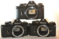 Lot of THREE 3 Nikon EM 35 mm Film analog SLR cameras PARTS REPAIR