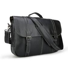 """Men's Leather 15.6""""Laptop Briefcase Shoulder Bag Travel Handbag Hold On Trolley"""