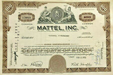 Mattel games and toys > stock certificate