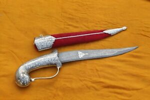 Mughal Islamic indo-Persian silver damascened parrot handle Damascus blade knife