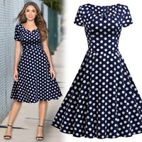 Women's Vintage Pok-a-dot Swing Dress, Fit and Flare for Causal Outings