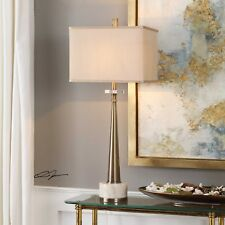 """MODERN TAPERED AGED BRASS METAL 34"""" TABLE LAMP MARBLE BASE CRYSTAL DETAIL"""