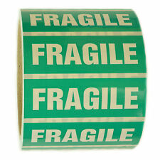 "Green and White ""Fragile"" Sticker Label - 1"" by 3"" - 500 ct"