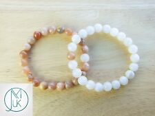 Couple Moonstone/Sunstone Natural Gemstone Bracelet 7-8'' Elasticated Healing