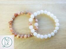 Couple Moonstone/Sunstone Natural Gemstone Bracelet 7-8'' Elasticated Healing