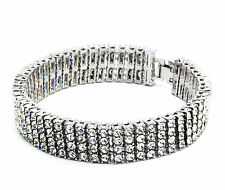"""Men's Silver Plated Iced Out Clear Cz Stones 4 Rows Hip Hop Bracelet 8.5"""" Inches"""