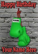 Vert Gants de boxe CARTE D'ANNIVERSAIRE pidgbg personnalisé Carte papa maman fils tout nom