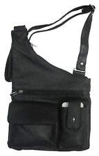 Black Premium Leather Crossbody Messenger Bag Phone Pocket Shoulder Handbag