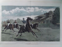 HORSE RACING SANDOWN PARK LARGE 1881 ANTIQUE PRINT HAND COLOURED 37x54cm