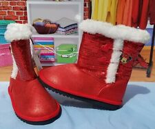 Disney Toddler Girl Red Sequin Minnie Mouse Faux Shearling Zip-Up Boots Sz 11