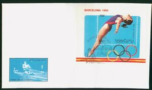 MayfairStamps Laos 1992 Souvenir Sheet Barcelona Diving First Day Cover wwp80291