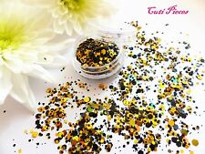 Nail Art Chunky *Bumble Bee* Gold Black Hexagon Shapes Glitter Spangle Mix Pot